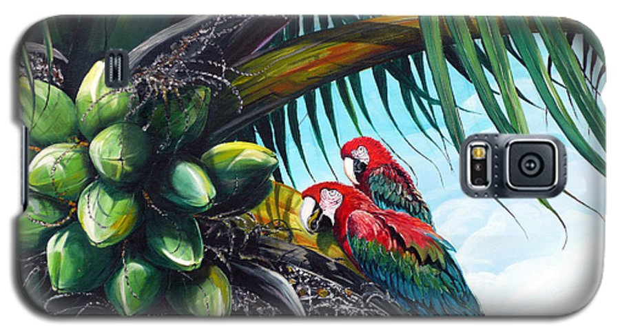 Macaws Bird Painting Coconut Palm Tree Painting Parrots Caribbean Painting Tropical Painting Coconuts Painting Palm Tree Greeting Card Painting Galaxy S5 Case featuring the painting Friends Of A Feather by Karin Dawn Kelshall- Best