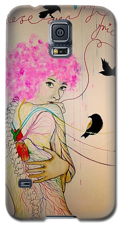 Bird Heart Veins Galaxy S5 Case featuring the drawing Friends With Birds by Freja Friborg