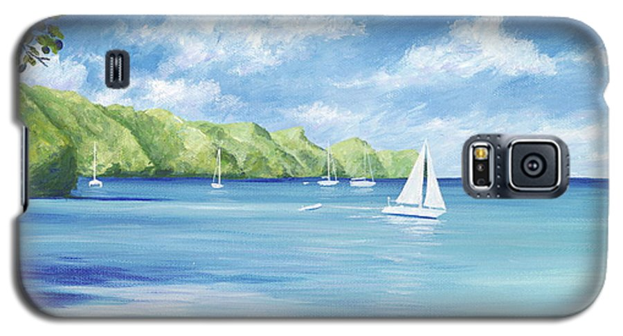 Nautical Seascape Galaxy S5 Case featuring the painting Friendship Bay by Danielle Perry