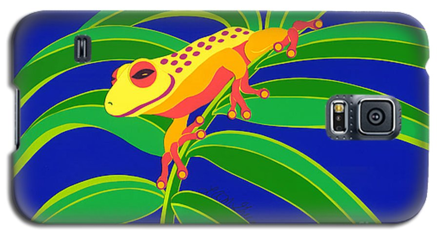 Nature Galaxy S5 Case featuring the drawing Frog On Branch by Lucyna A M Green