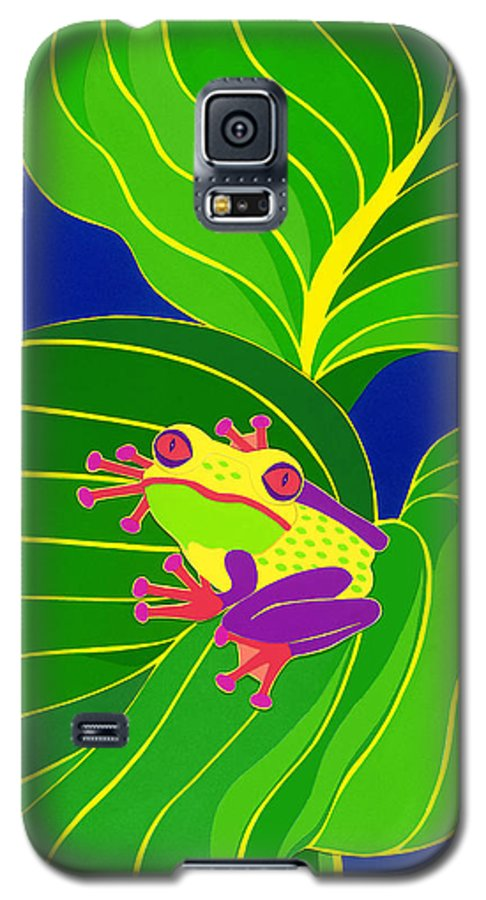 Nature Galaxy S5 Case featuring the drawing Frog On Leaf by Lucyna A M Green