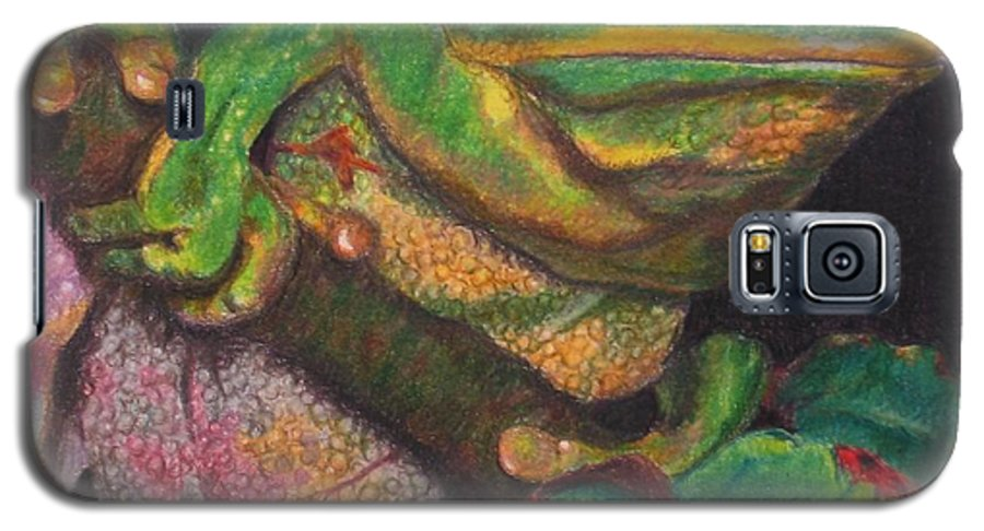 Frog Galaxy S5 Case featuring the painting Froggie by Karen Ilari
