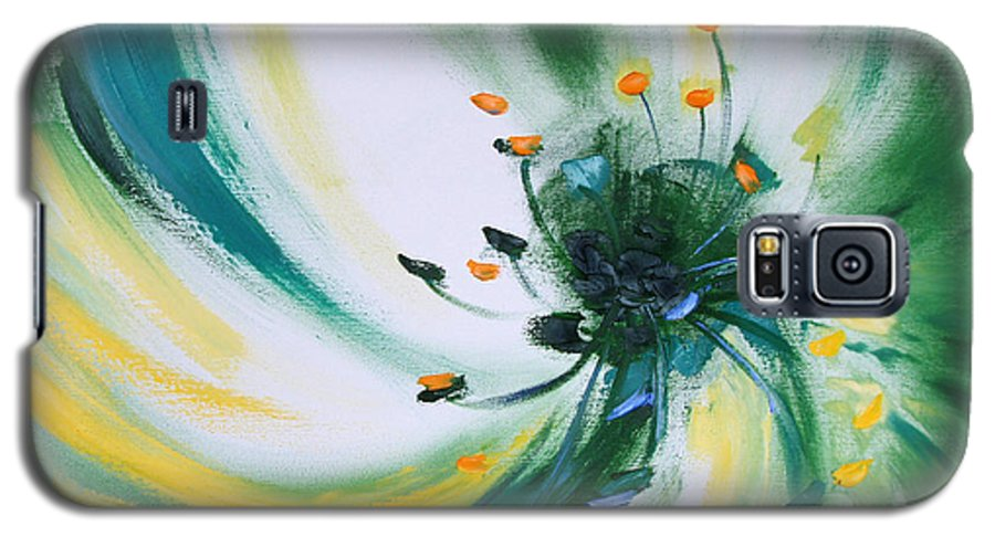 Green Galaxy S5 Case featuring the painting From The Heart Of A Flower Green by Gina De Gorna