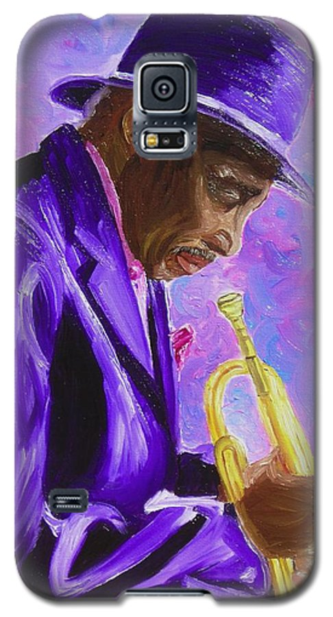 Street Musician Trumpet Player Galaxy S5 Case featuring the painting From The Soul by Michael Lee