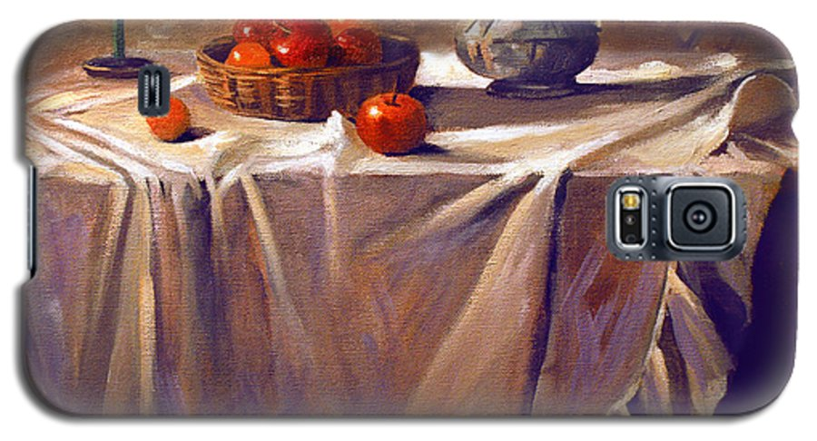 Still Life Galaxy S5 Case featuring the painting Fruit By Candle Light by Nancy Griswold
