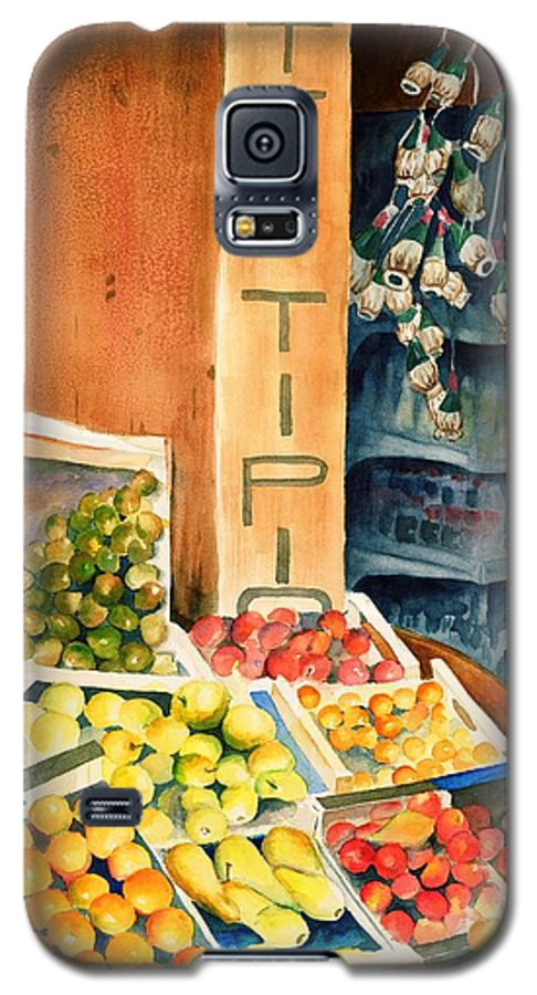 Fruit Shop Window Galaxy S5 Case featuring the painting Fruit Shop In San Gimignano by Judy Swerlick