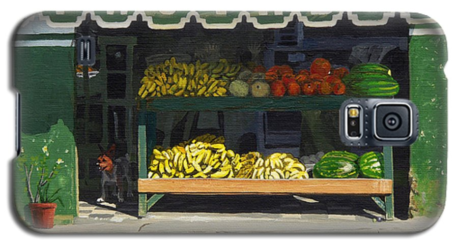 Market In Puerto Vallarta Mexico. Dog Added. Galaxy S5 Case featuring the painting Frutas Y by Michael Ward