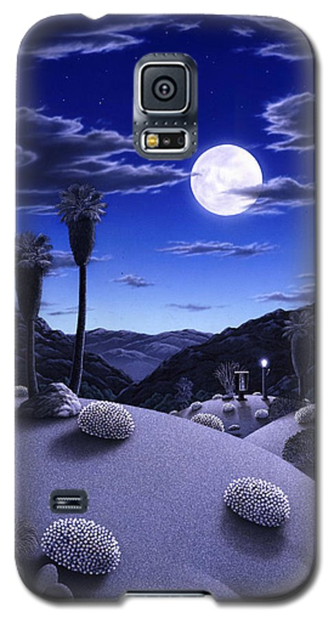 Desert Galaxy S5 Case featuring the painting Full Moon Rising by Snake Jagger