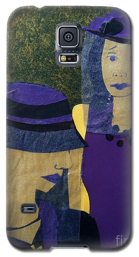 Purple Galaxy S5 Case featuring the mixed media Funeral Masks by Debra Bretton Robinson