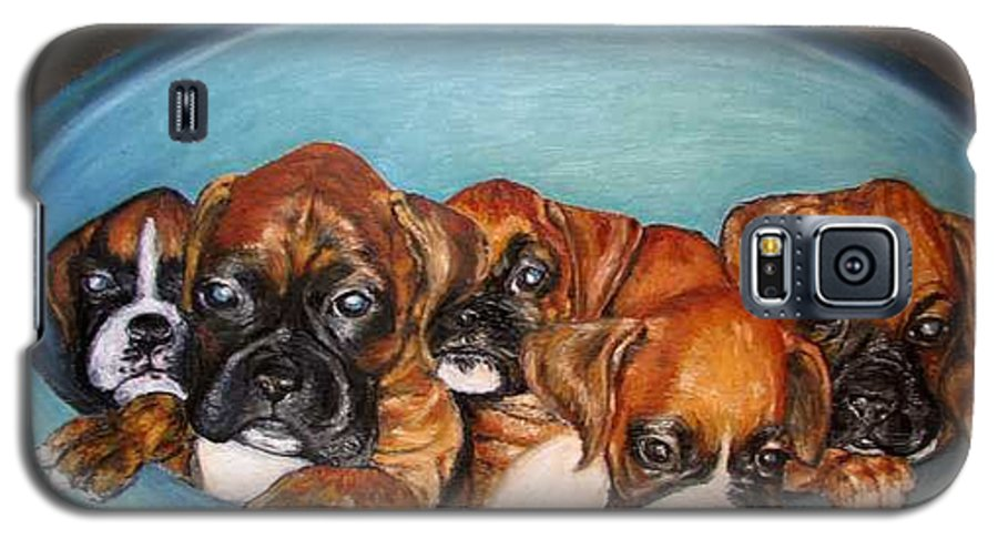 Oil Galaxy S5 Case featuring the painting Funny Puppies Orginal Oil Painting by Natalja Picugina