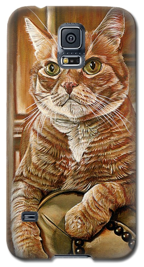 Cat Galaxy S5 Case featuring the painting Furby by Cara Bevan