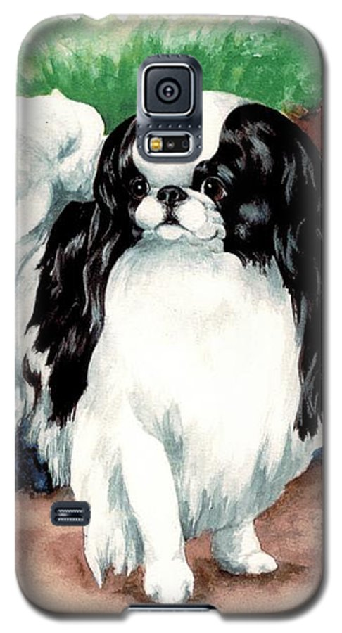 Japanese Chin Galaxy S5 Case featuring the painting Garden Chin by Kathleen Sepulveda
