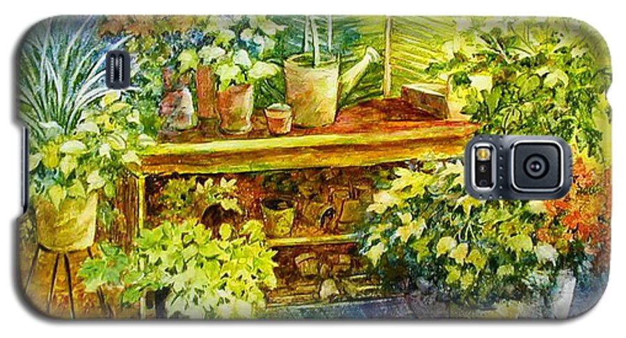 Greenhouse;plants;flowers;gardener;workbench;sprinkling Can;contemporary Galaxy S5 Case featuring the painting Gardener's Joy by Lois Mountz