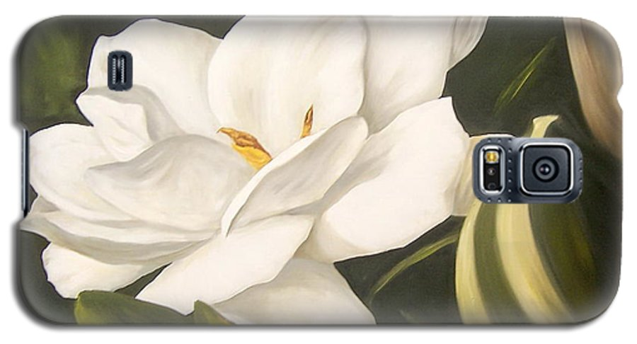 Gardenia Flower Galaxy S5 Case featuring the painting Gardenia by Natalia Tejera