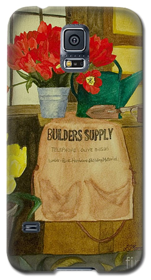 Tulips Galaxy S5 Case featuring the painting Gardner by Louise Magno