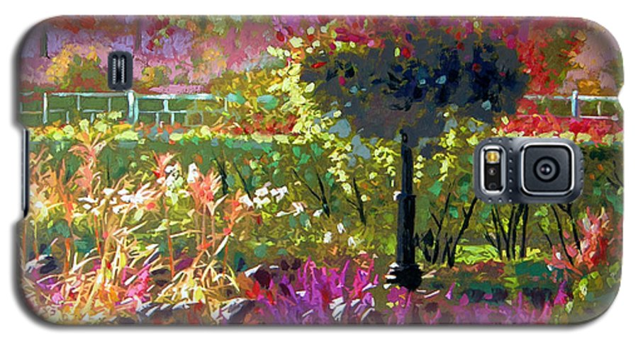 Landscape Galaxy S5 Case featuring the painting Gas Light In The Garden by John Lautermilch