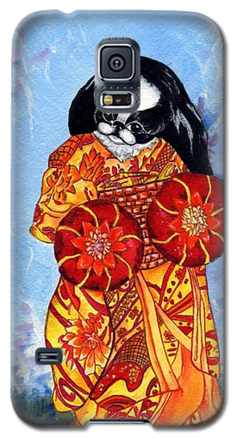 Japanese Chin Galaxy S5 Case featuring the painting Geisha Chin by Kathleen Sepulveda