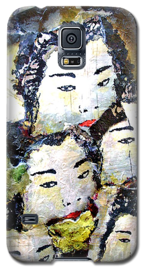 Geisha Girls Galaxy S5 Case featuring the mixed media Geisha Girls by Shelley Jones
