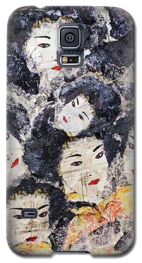 Geisha Galaxy S5 Case featuring the mixed media Geisha by Shelley Jones