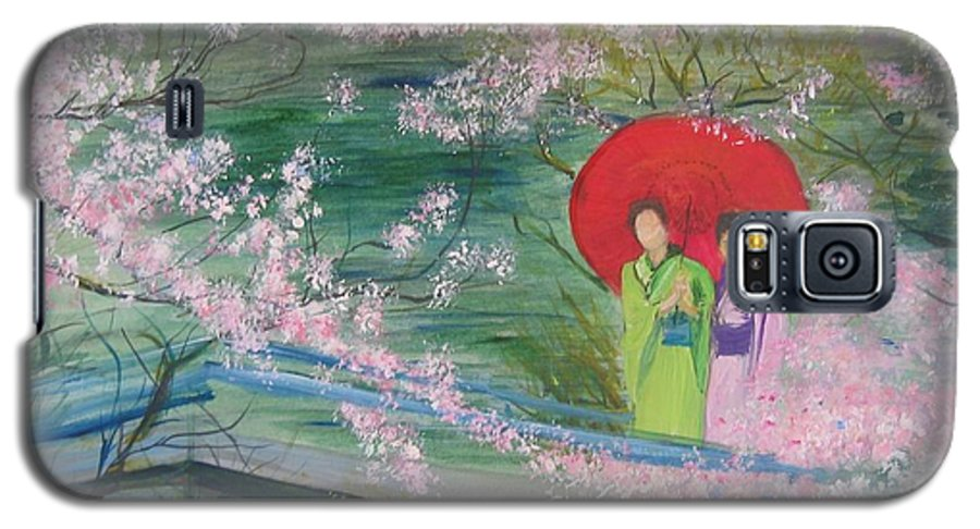 Landscape Galaxy S5 Case featuring the painting Geishas And Cherry Blossom by Lizzy Forrester