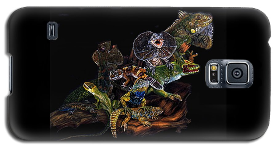 Lizards Galaxy S5 Case featuring the drawing Gems And Jewels by Barbara Keith