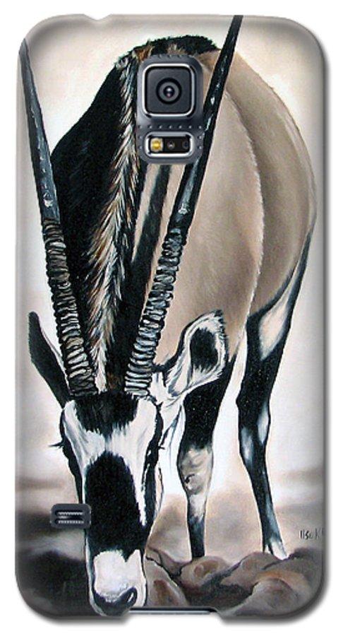 Wildlife Galaxy S5 Case featuring the painting Gemsbok - Thirst by Ilse Kleyn
