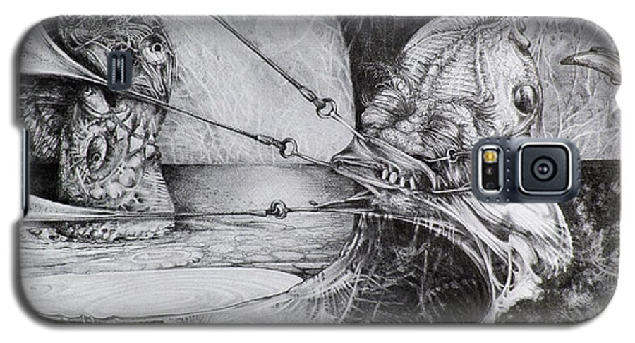 Surrealism Galaxy S5 Case featuring the drawing General Peckerwood In Purgatory by Otto Rapp