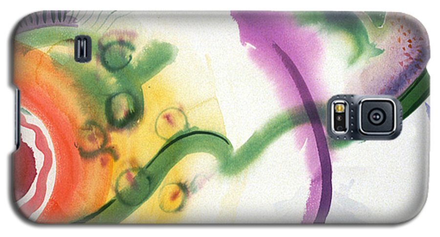 Abstract Galaxy S5 Case featuring the painting Geomantic Blossom Ripening by Eileen Hale