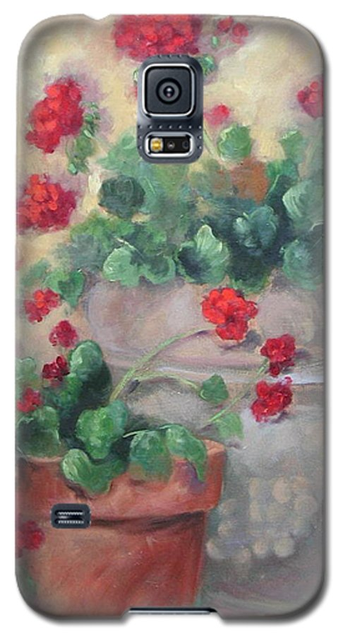 Geraniums Galaxy S5 Case featuring the painting Geraniums by Ginger Concepcion