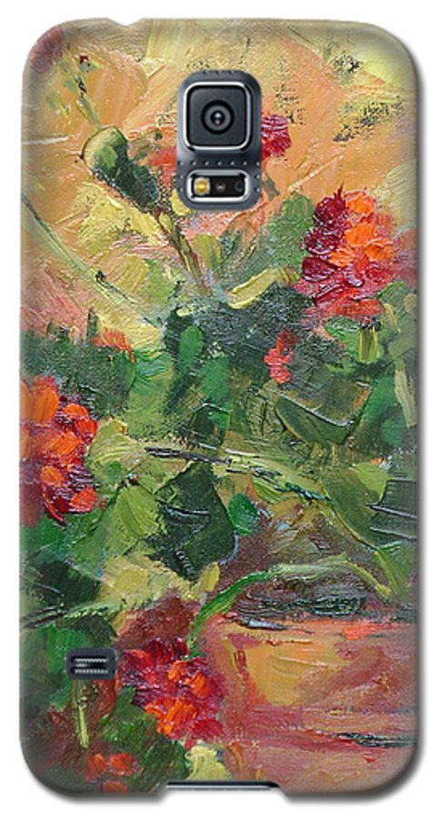 Geraniums Galaxy S5 Case featuring the painting Geraniums II by Ginger Concepcion