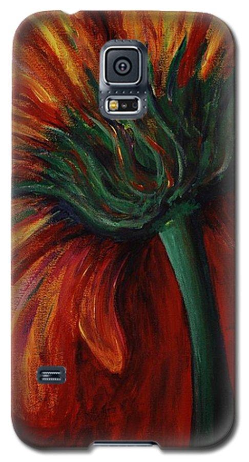 Gerbera Daisy.daisy Galaxy S5 Case featuring the painting Gerbera Daisy by Nadine Rippelmeyer