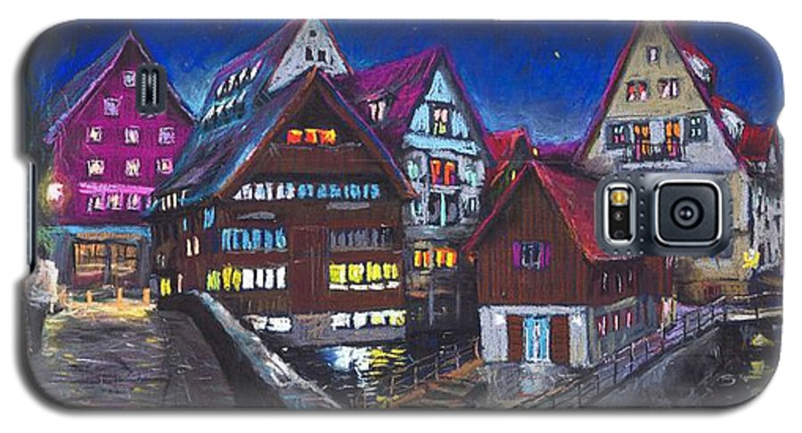 Pastel Galaxy S5 Case featuring the painting Germany Ulm Fischer Viertel by Yuriy Shevchuk