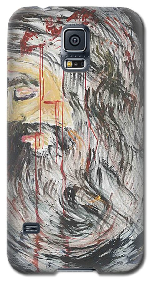 Jesus Galaxy S5 Case featuring the painting Gethsemane To Golgotha IIi by Nadine Rippelmeyer