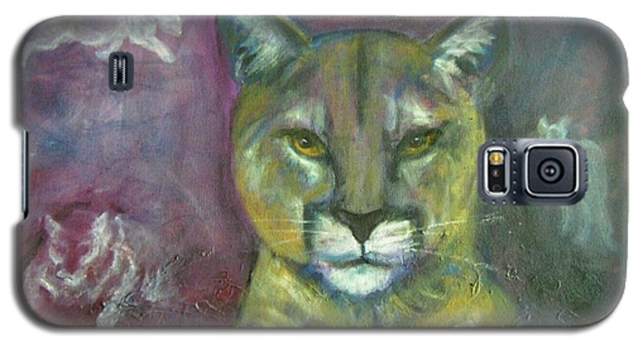 Wildlife Galaxy S5 Case featuring the painting Ghost Cat by Darla Joy Johnson