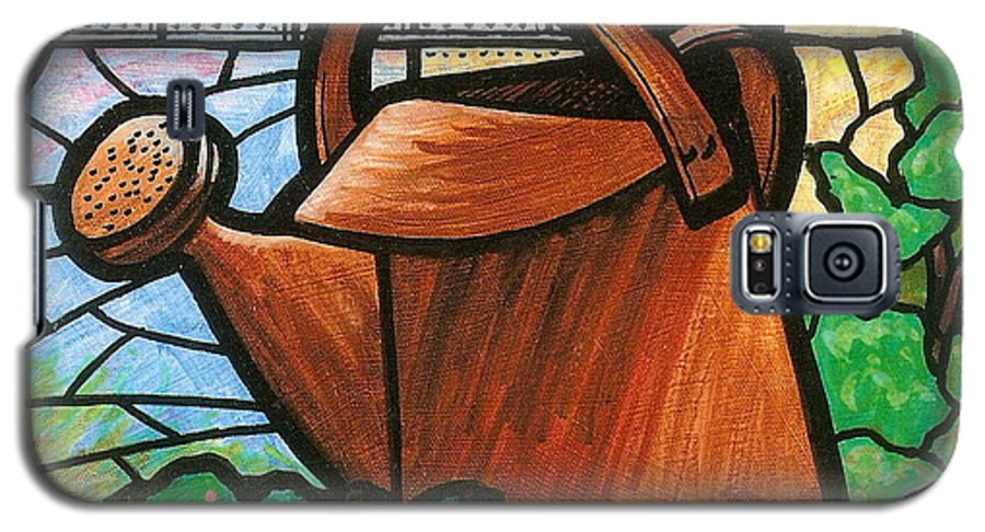 Gardening Galaxy S5 Case featuring the painting Giant Watering Can Staunton Landmark by Jim Harris