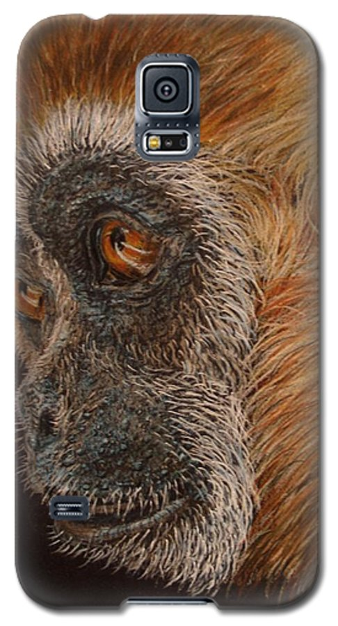 Animals Galaxy S5 Case featuring the drawing Gibbon by Karen Ilari