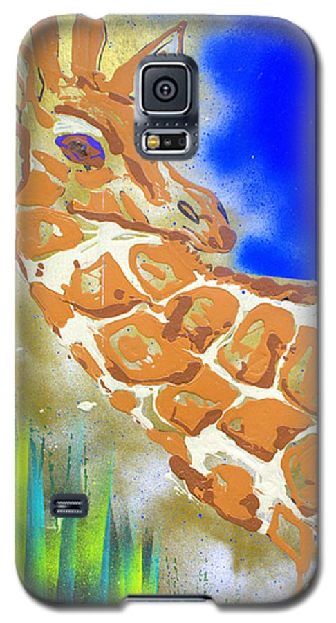 Giraffe Galaxy S5 Case featuring the painting Giraffe by J R Seymour