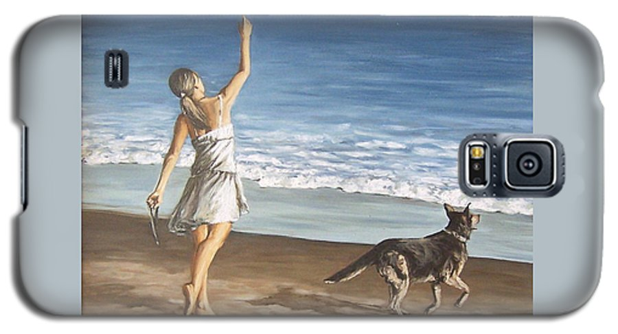 Portrait Girl Beach Dog Seascape Sea Children Figure Figurative Galaxy S5 Case featuring the painting Girl And Dog by Natalia Tejera