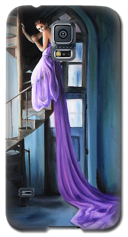 Girl Galaxy S5 Case featuring the painting Girl On Staircase by Maryn Crawford