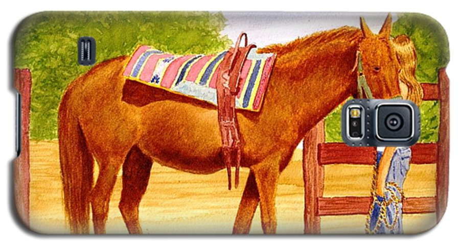 Equine Galaxy S5 Case featuring the painting Girl Talk by Stacy C Bottoms
