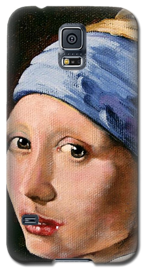 Portrait Galaxy S5 Case featuring the painting Girl With A Pearl Earring A Reproduction Of Vermeer by Joan Garcia