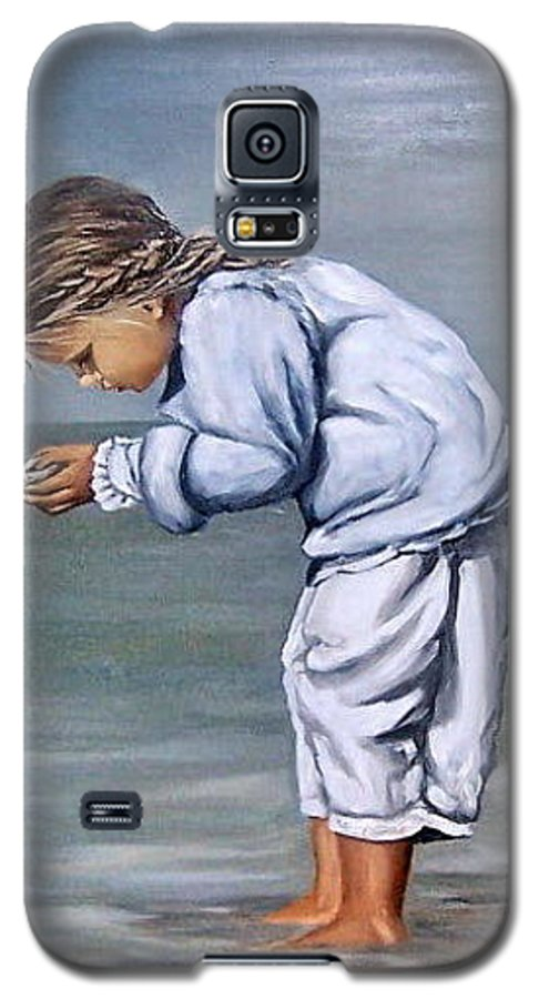 Kid Girl Seascape Sea Children Reflection Water Sea Shell Figurative Galaxy S5 Case featuring the painting Girl With Shell by Natalia Tejera