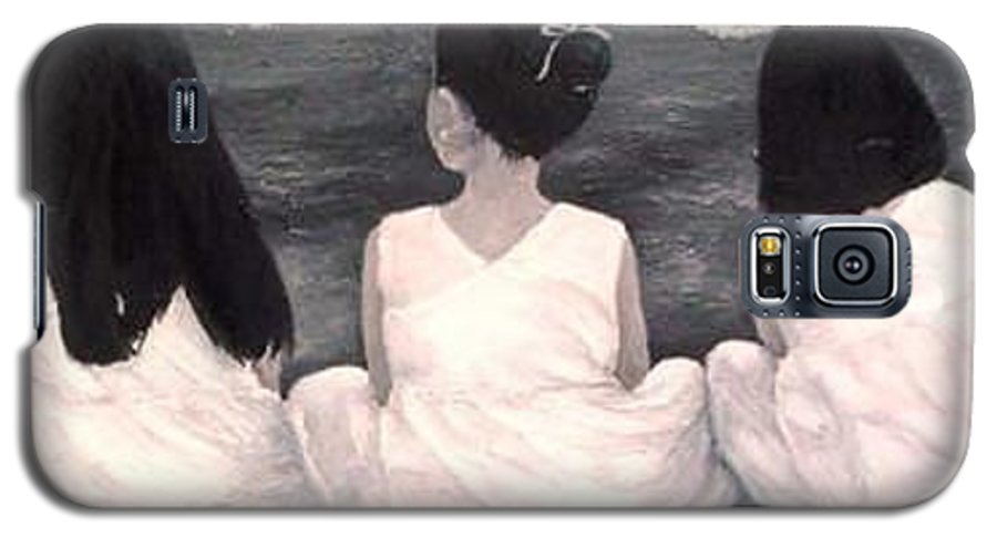 Girls Galaxy S5 Case featuring the painting Girls In White At The Beach by Patricia Awapara