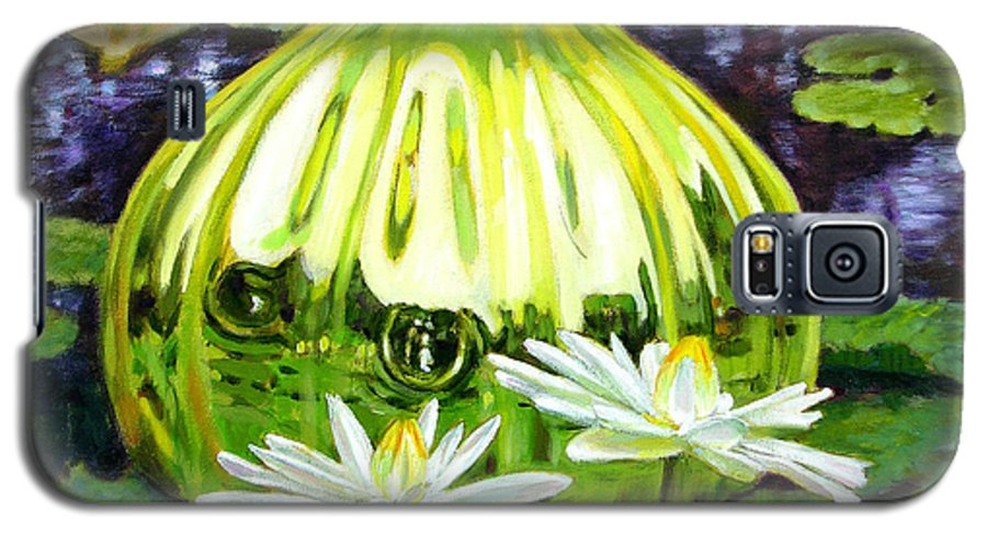 Water Lilies Galaxy S5 Case featuring the painting Glass Among The Lilies by John Lautermilch