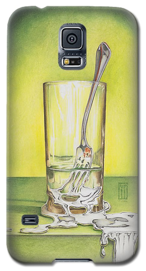 Bizarre Galaxy S5 Case featuring the painting Glass With Melting Fork by Melissa A Benson