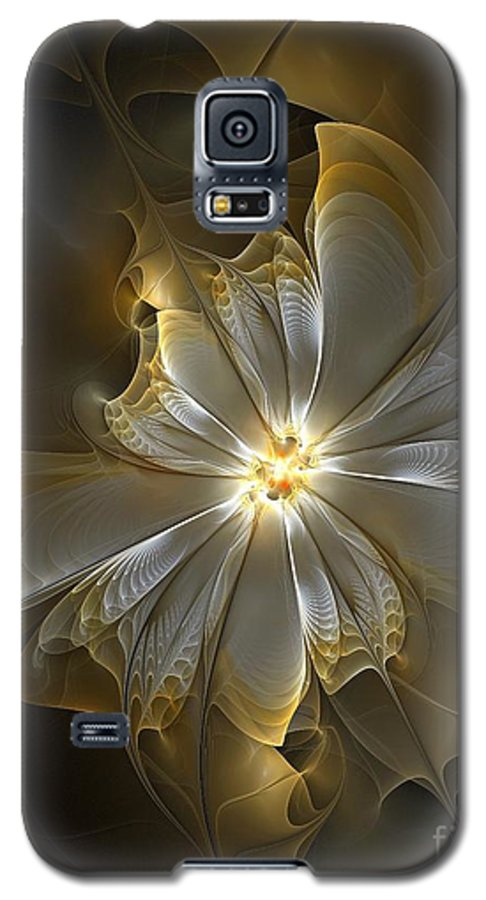 Digital Art Galaxy S5 Case featuring the digital art Glowing In Silver And Gold by Amanda Moore