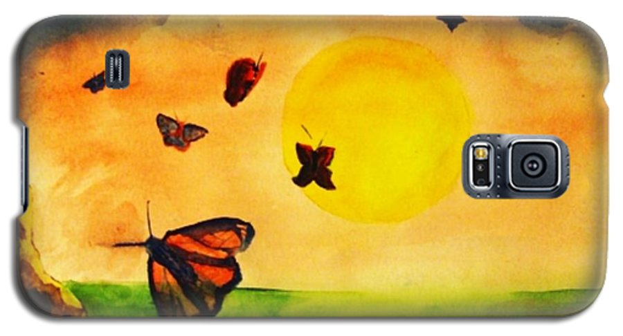 Gnome Galaxy S5 Case featuring the painting Gnome And Seven Butterflies by Andrew Gillette