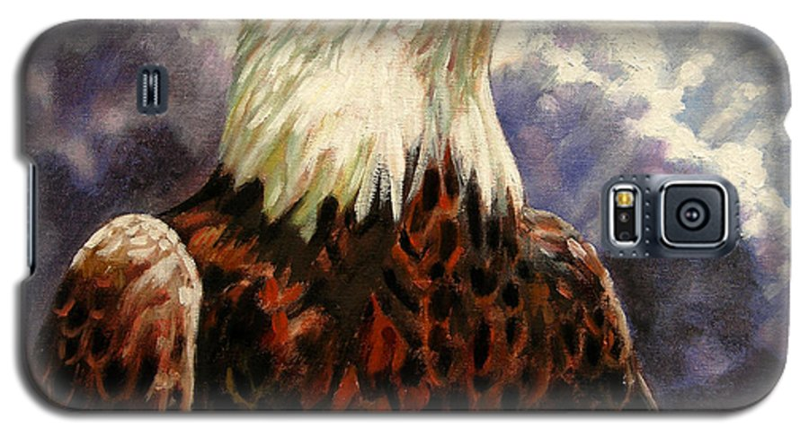 American Bald Eagle Galaxy S5 Case featuring the painting God Bless America by John Lautermilch