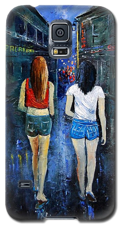 Girl Galaxy S5 Case featuring the painting Going Out Tonight by Pol Ledent