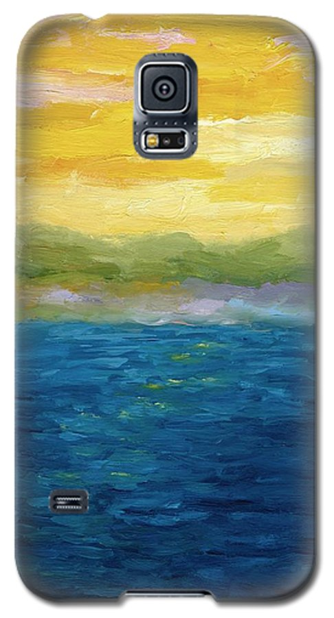 Lake Galaxy S5 Case featuring the painting Gold And Pink Sunset by Michelle Calkins